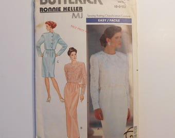 Easy Sewing  Butterick Sewing Pattern 4627 Classic Women's Fashion Dress Misses Size 6-8-10, Long sleeved Formal dress Ronnie Heller Design