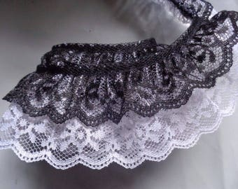black /White 2 inch wide ruffled lace selling by the yard