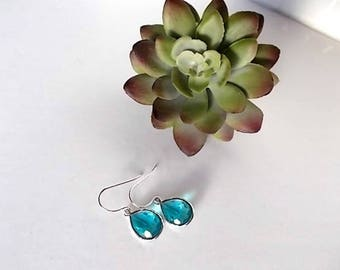Turquoise Dangle Earrings, Bridesmaid Jewelry, Gift for Her, Rhodium Silver Earrings, Everyday Jewelry