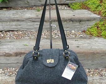 Purse, Grey Purse, Gray Handbag, Shoulder Bag, Wool Tweed Purse, Purse, Handbag, Carpet Bag, Lay A Way,