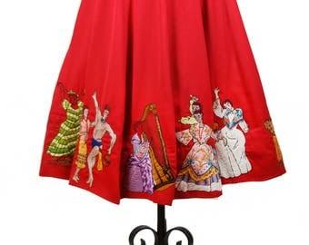 1940s Skirt // International Dancers Embroidered Red Gabardine A Line Skirt