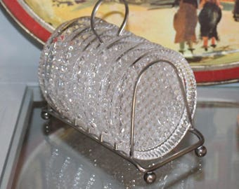 Vintage Glass, Diamond Pattern, Coasters with Stand, Holder