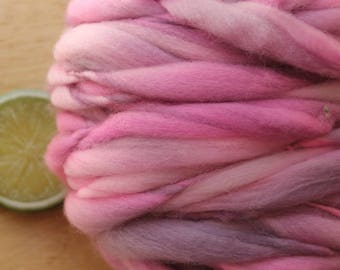 Mod Girl - Handspun Superwash Merino Wool Yarn Pink Grey Thick and Thin Skein