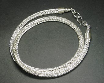 Handmade Chain,Silver Necklace,Viking Knit Chain