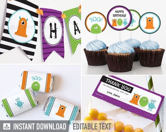 Monster Party Pack - Halloween Party - INSTANT DOWNLOAD - Printable PDF with Editable Text