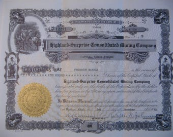 Highland-Surprise Consolidated Mining Company 1964 Stock Certificate
