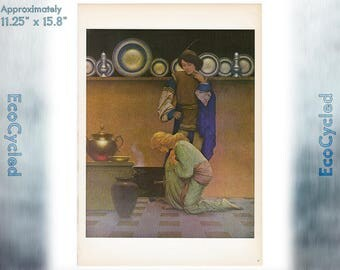 Maxfield Parrish Vintage Poster Print Lady Violetta and the Knave ready to frame print vintage art print Paper Ephemera Book Page z31