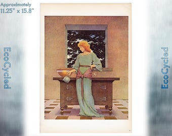 Maxfield Parrish Vintage Poster Lady Violetta About to Make Tarts ready to frame print vintage art print Paper Ephemera Book Page z25