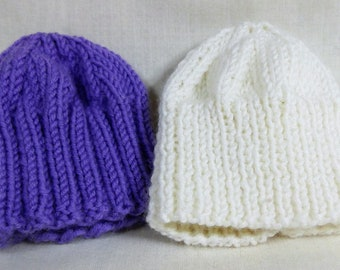 2 pull on knitted hats to fit 16inch A girl for all time dolls