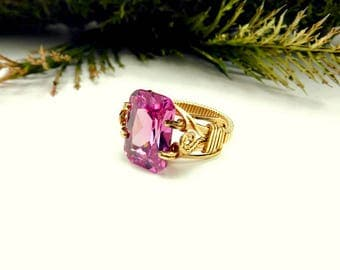 Rose Pink Edwardian Style Prong Ring/Wire  Wrapped Ring