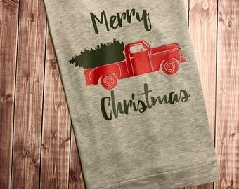 Merry Christmas Truck - Women's Sweatshirt - Holiday Comfy Sweatshirt - Graphic Tee - Ladies Christmas - Ladies Holiday