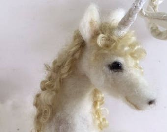 Needle felted Unicorn posable animal spirit handmade soft art sculpture unique gift for her