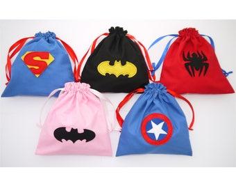 Superhero Party Bags Individual embroidered Batman, Batgirl, Spiderman, Captain America, Superman, Superwoman, Boys Girls Birthday