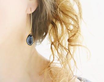 Black Geode Earrings -  Genuine Diamond Earrings - Black Earrings Dangle - Geode Jewelry - Gemstone Statement Earring - Party Earrings