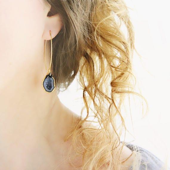 Black Geode Earrings -  Genuine Diamond Earrings
