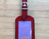 Hand made luggage tag in red patent leather