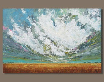 FREE SHIP large painting, abstract painting, landscape painting, oblong prairie painting, cloud painting, wheat field, modern art, storm