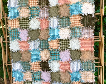 Sale - Crib-Sized Patchwork Rag Quilt, READY TO SHIP, Handmade Baby Quilt, Pastel Quilt, Homemade Quilt, Country Quilt, Reversible Quilt