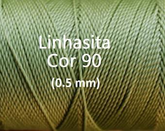 Linhasita Sage Green(0.5 mm) Cor 90, Waxed Polyester Macrame Cord/ Beading/ Spool