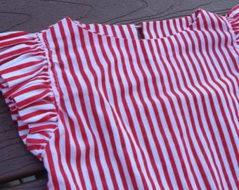 red and white CANDY STRIPER BLOUSE summer flutter sleeve M