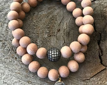 Matte  rosewood and pave rhinestone and rutilated quartz stacking stretch bracelet set