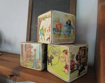 "Handmade Wood Children's Blocks, Nursery Decor, Baby Teacher Gift Large 3.5"""