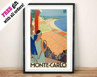 MONTE CARLO POSTER: Vintage Tennis Art Print
