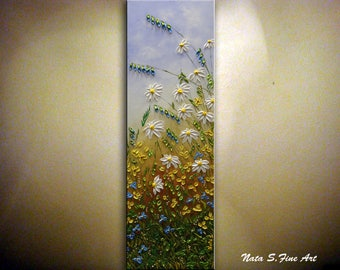 Hand Painted Wildflower Painting, Abstract Acrylic Artwork, Contemporary Daisy Painting, Landscape Painting, Original Wildfield  by Nata S.