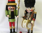 Christmas Nutcrackers, 15 and 16 inch Wooden Nutcrackers, Holiday Soldier Guard, Drummer, Christmas Decoration, Glittered Nutcracker