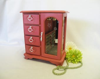 Shabby Chic Jewelry Box Salmon Pink Vintage, Gift, Upcycled, Cottage Chic, French Country, Chest of Drawers, Farmhouse, Rustic, Home Decor
