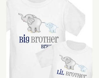 ON SALE Big Brother and Little Brother Elephant Shirts Personalized T Shirt Set