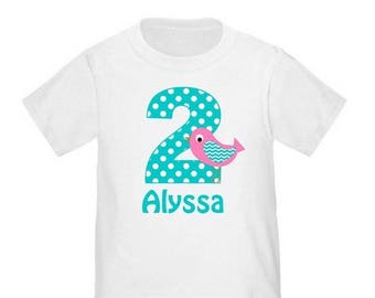 ON SALE Birthday Bird Teal Pink Kids Personalized Birthday Shirt - ANY Age