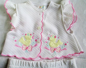 Vintage 2 pc  Pink & White Baby Outfit With Embroidered Flowers, Bows, And Ducks Size 0 to 6 mos  Vintage Clothing By Vintagelady7