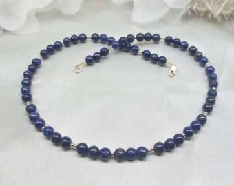Blue Lapis Necklace 14KT Gold Lapis Necklace Blue Lapis Lazuli Necklace Adjustable Necklace 14kt Solid Gold Necklace BuyAny3+Get1 Free