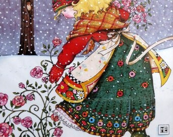 Mary Engelbreit, Iron On Transfer, Roses in Winter, 6544, Daisy Kingdom, Applique Transfer, 1990, Unopened