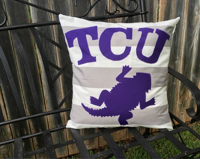 Gray and White Striped Outdoor TCU Horned Frog Pillow 20x20 Pillow Cover with Purple Applique Frog and Lettering outdoor Decor Gameday