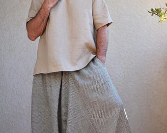 ON SALE Striped Men's Harem pants with pockets. Drop Crotch, Loose fit, Baggy, Wide leg pants, Mens yoga pants, Sarouel Homme, Gray and Blue