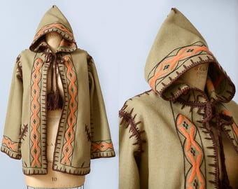 70s Hooded Wool Embroidered Festival Bohemian Hippie Jacket