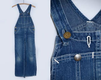 1950s LEE Overalls Sanforized Indigo Blue Denim Workwear Railroad Denim Overalls W 29
