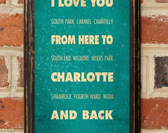 Charlotte NC I Love You From Here And Back Wall Art Sign Plaque Gift Present Personalized Custom Color Home Decor Vintage Style Antique