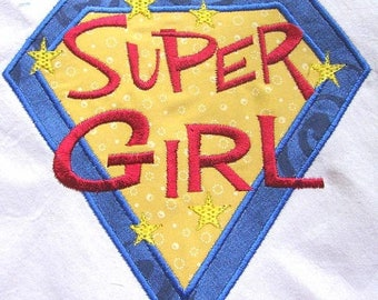 ON SALE Super Girl Machine Applique Embroidery Design - 4x4, 5x7 & 6x8