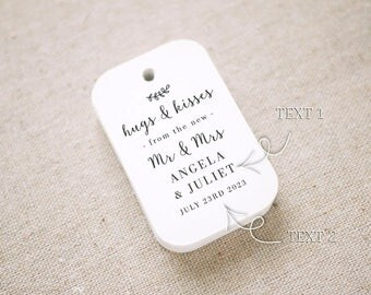 Hugs and Kisses Wedding Favor Tags, Personalized Gift Tags,Bridal Shower,Thank you tags, Custom Gift Tags - Set of 24 (Item code: J730)