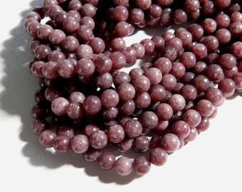 Lepidolite Beads - 8mm A Grade Natural Lepidolite Polished Semi-Precious Round Beads, Half Strand (IND2C05)