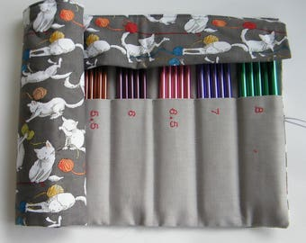 DPN Needle Case, Holds 2mm-8mm double pointed knitting needles. Cat fabric.