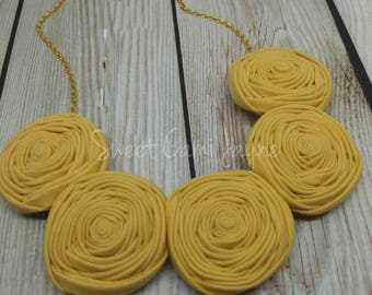Bib Necklace Yellow Rosette Necklace Statement Necklace Fabric Rosette Jewelry Fabric Bib Necklace Unique Necklace Handmade Necklace