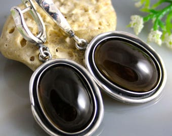 Quartz Earrings Smoky Quartz Stone Sterling Silver Jewelry