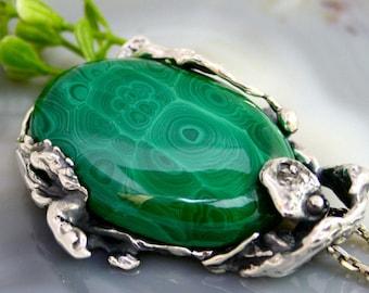 Malachite Pendant Green Gemstone Sterling Silver