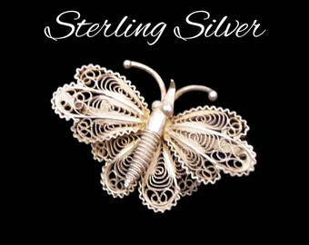 Antique Sterling Silver Butterfly Brooch, 800 SS Italia Silver, Sterling Cannetille, Filigree Butterfly, Gift for Collector, Gift for Her