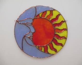 Stained Glass Sun and Moon Sun Catcher