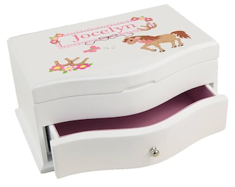 Personalized Ponies Prancing Princess Jewelry Box My Little Li Lhorses Riding Stable Farm Horseback jewef-305